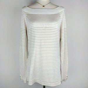 NWT WHBM Cream & Gold Metallic Striped Sweater L